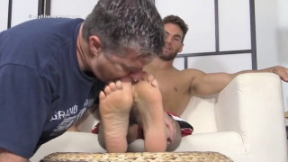 chase shoves bare feet in worshiper's face