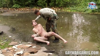 soldier plays rough with this handsome guy