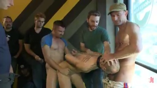slave crawl through store sniffing crotches