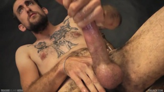 inked dude jack dean firing off a load
