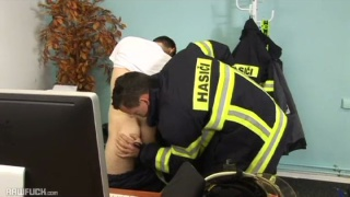 fireman fucks a young lad's bare ass