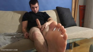 billy shows his smelly feet and jacks off