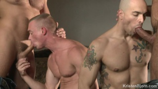 two buddies gets fucked by hunky tops