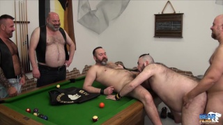 5 bear men fuck on billiards table