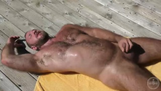 hairy muscle daddy bear jacking outdoors