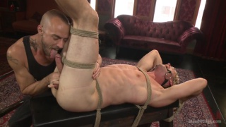 french-canadian stud's first bondage and edging session