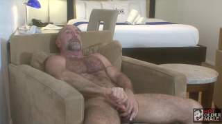 daddy with furry chest jacks his big cock