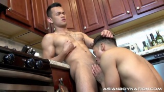 eli lewis gets drilled over the kitchen counter