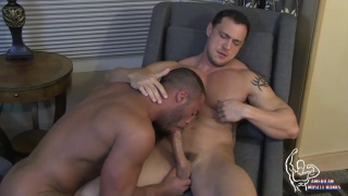 Micah Brandt sucks Joey D's huge cock