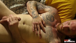 tatted bisexual guy jerks his dick