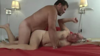 hairy daddy manhandles an old man