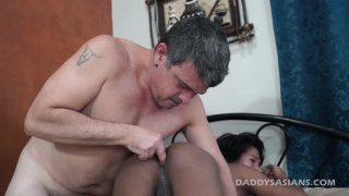 long-haired asian gives his ass to daddy