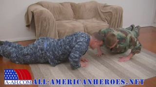 two soldiers workout before fucking