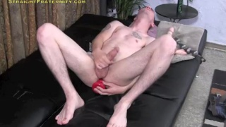 straight hunk explores ass play with red dildo