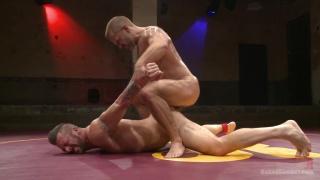 Hugh Hunter challenges Dirk Caber to a wrestling match