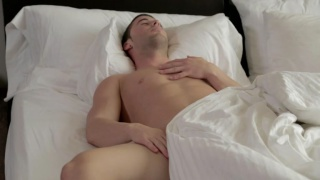 sexy stud michael wakes up with morning wood