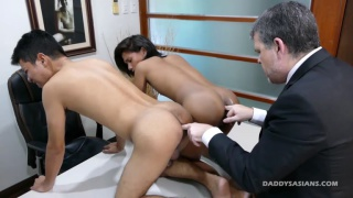 daddy has two asian boys to service