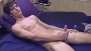 skateboarder jerks his hard dick