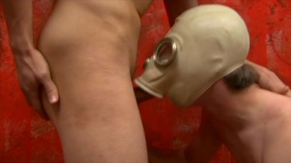 cocksucker in gas mask gives head