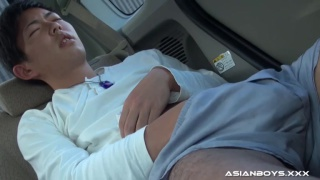 japanese college guy jerks his dick