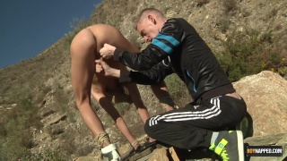 chav in trackies abuses naked lad outdoors