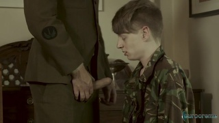 young soldier services his sergeant's cock