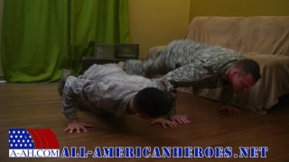 Army recruits have a push-up contest