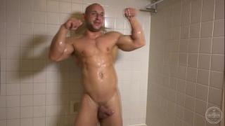 bald stud jacks off and showers
