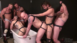Aarin Asker and Lukas Cipriani take turns in the piss tub