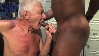 scrawny old man feasts on big black cock