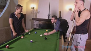 spit-roast fucking a twink on billiards table