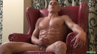 very ripped stud jacks his dick