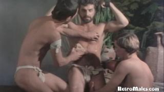 two roman slaves suck and jack Demetrius off