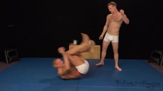 naked wrestles settle back for a wank off