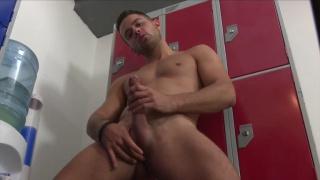 ripped robbie rojo strokes his dick in locker room