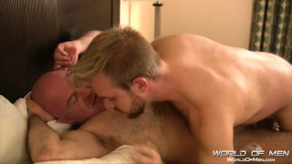 bearded bottom gets fucked by hairy bald daddy
