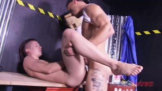 boss takes his frustration out on twink's ass