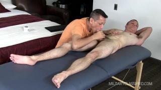straight marine gets his dick ridden on massage table