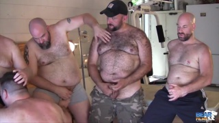 gunner scott watches a horny 5-man orgy