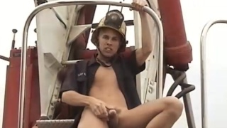 Big-dick blond fireman Markie jacks off
