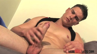 Fit, Welsh lad strokes his uncut cock