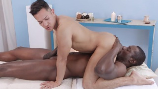 spanish bottom sits on black stud's face and cock