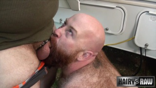 big bear gets fucked in his campsite sling