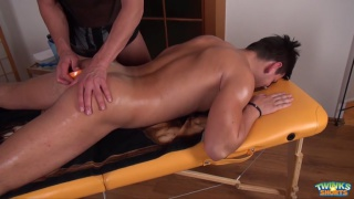 nick pushes anal beads into shane's ass