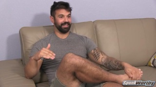 bearded stud freddy jerks his dick