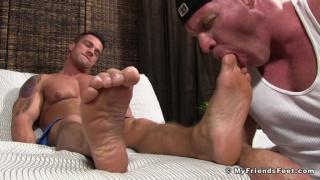 Dev Worships Braden's Feet Post Workout