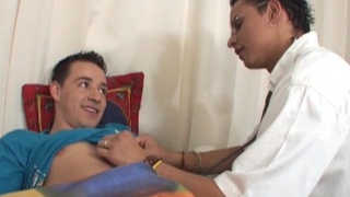young Latin doctor exams his patient