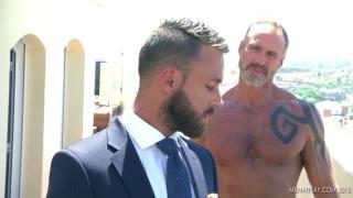bearded daddy DALLAS STEEL fucks LOGAN MOORE
