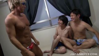 straight boy kiba has his first gay threeway