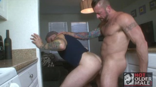 hugh hunter fucks bearded daddy in kitchen